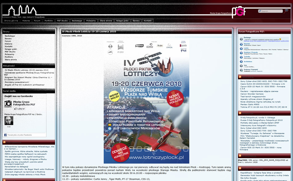 Nowa strona Płockiej Grupy Fotograficznej PGF