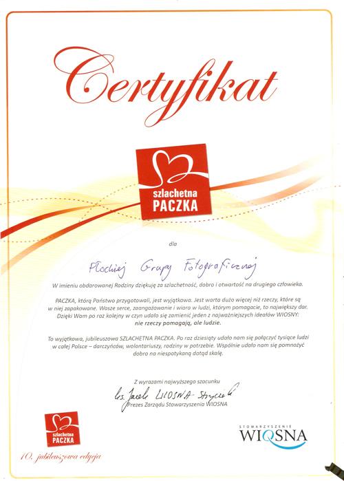 szlachetna paczka certyfikat